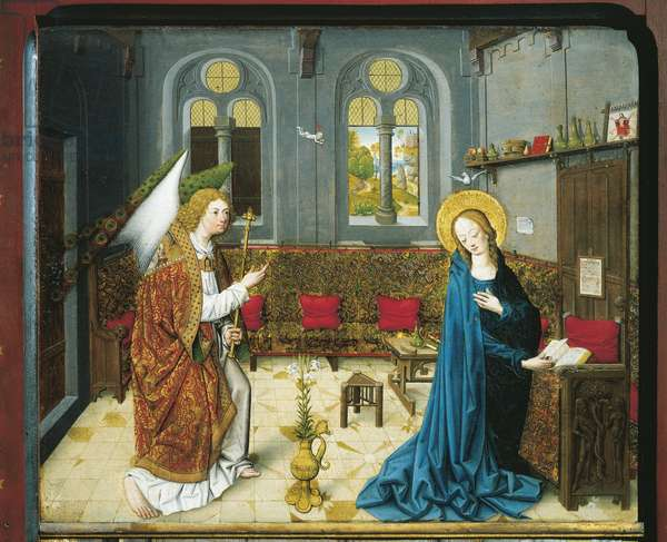 The Annunciation, from the Stories from the Life of Mary, (oil on panel)