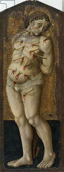 St Sebastian, 14th century, by an artist from the Umbrian school, tempera on wood.