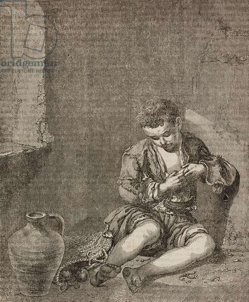 The young beggar, after painting by Bartolome Esteban Murillo, illustration from Teatro universale, Raccolta enciclopedica e scenografica, No 74, November 28, 1835