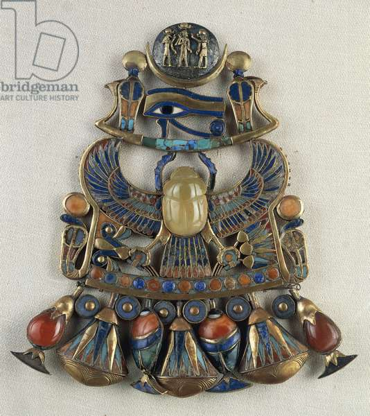 Breastplate with solar and lunar emblems, From Tomb of Tutankhamun, Thebes, Egypt, Goldsmith art, Egyptian civilization, New Kingdom, Dynasty XVIII