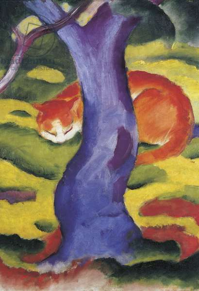 Cat behind tree,  50x70 cm
