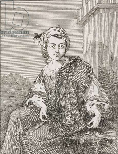 Flower girl, from painting by Bartolome Esteban Murillo (1618-1682), engraving from L'album giornale letterario e di belle arti, October 26, 1850, Year 17