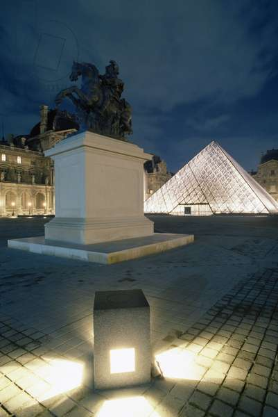 La Cour Napoleon with equestrian statue of Louis XIV and Louvre Pyramid at night, 1989, by Ieoh Ming Pei (born in 1917), Paris, Ile-de-France, France