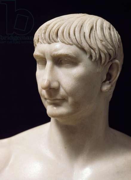 Marble bust of Trajan, Roman Civilization, 2nd century