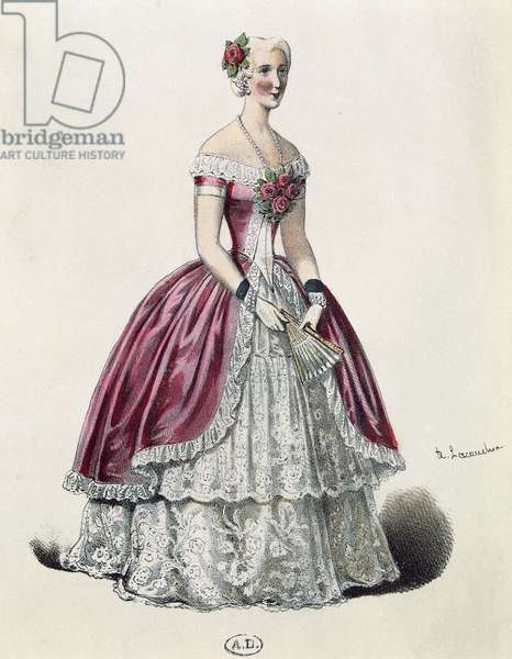 Actress Eugenie Doche (1821-1900) in title role in Lady of Camellias, drama by Alexandre Dumas fils (1824-1895), France, 1848