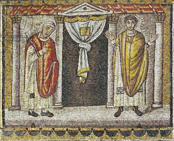 Parable of the Pharisee and the Publican, mosaic, north wall, upper level, Basilica of Sant'Apollinare Nuovo (UNESCO World Heritage List, 1996), Ravenna, Emilia-Romagna. Italy, 5th-6th century.