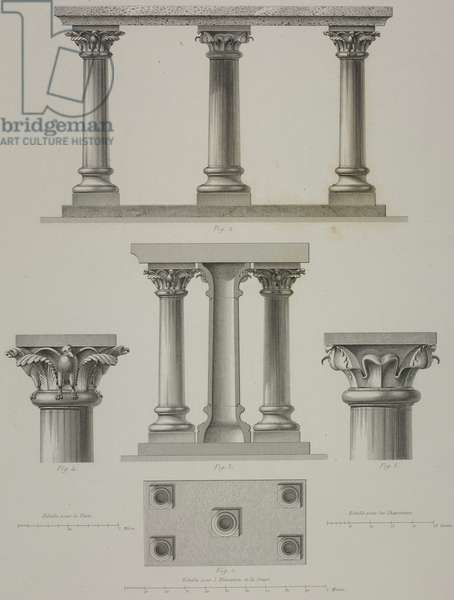 Columns, capitals and bases of Braunschweig cathedral, Germany, drawing by Hoffmann, engraving by Bury and Jean-Joseph Sulpis (1826-1911), from L'Architecture du V au XVI siecle et les Arts qui en dependent, 1853-1857, by Jules Gailhabaud (1810-1888)
