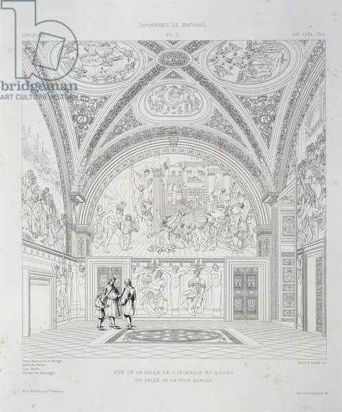 View of Room of Fire in Borgo, engraving from The Vatican and St Peter's Basilica, 1882, by Paul Marie Letarouilly (1795-1855), Volume II, Raphael Rooms, Plate 2