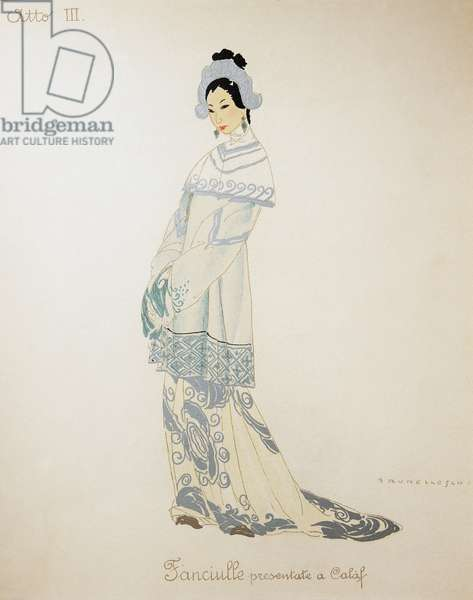 Costume for a young woman from Turandot by Giacomo Puccini, sketch by Umberto Brunelleschi (1879-1949) for the first performance of the opera at the Teatro alla Scala in Milan, April 25, 1926. 20th century