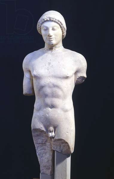Kouros, 500-510 BC, sculpture of the archaic age from Ptoion, Boeotia (Greece). Greek Civilization, 6th Century BC.
