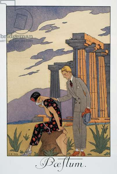 Paestum, lithograph by George Barbier (1882-1932), from Falbalas et Fanfreluches, Almanach des Modes Presentes, Passees et Futures, 1925, France, 20th century