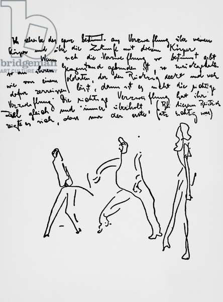 Page with sketches from one of the diaries by Franz Kafka (1883-1924), Bohemia, 20th century