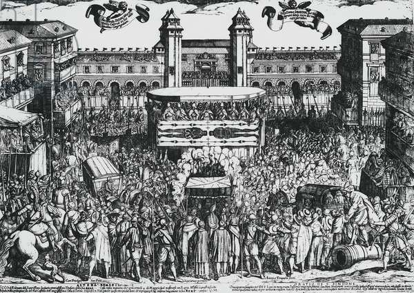 View of Piazza del Castello, Turin, during ostension of Holy Shroud, 4th may 1613, by Antonio Tempesta (1555-1630) engraving. Italy, 17th century