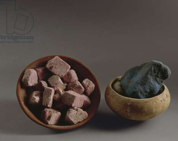 Roman clay vessels containing remains of colors for frescoes, from Pompei, Italy, 1st Century