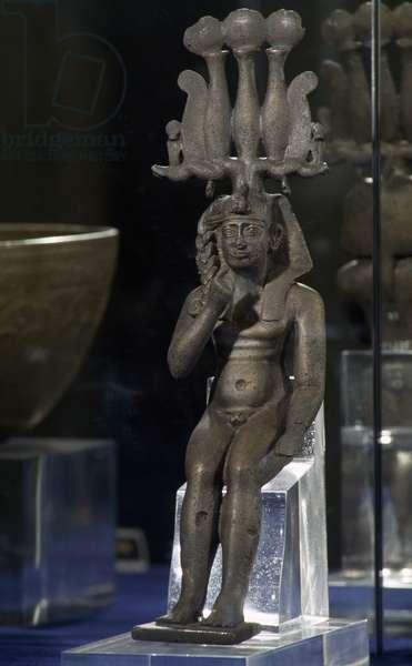 Harpocrates, bronze statuette, 28x8x46 cm, Egyptian Civilisation, Ptolemaic Period, 3rd-1st century BC