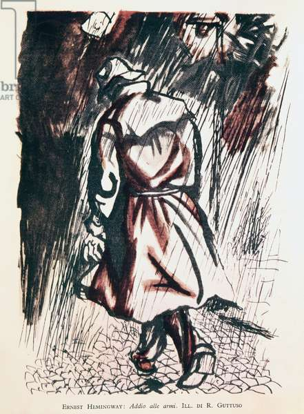 Frederic leaving hospital in Lausanne after Catherine's death, illustration by Renato Guttuso (1911-1987) for the final scene of A Farewell to Arms, 1929, by Ernest Hemingway (1899-1961), Mondadori edition 1946. 20th century.