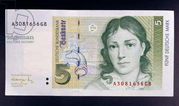 5 mark banknote, 1991, obverse, Bettina von Arnim (1785-1859), Germany, 20th century