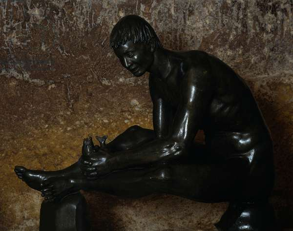 Tobias, 1934, by Arturo Martini (1889-1947), bronze sculpture, 124x156x68 cm. Italy, 20th century.