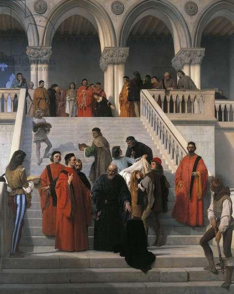 The last moments of Doge Marin Faliero, by Francesco Hayez (1791-1882), oil on canvas, 238x192 cm, 1867