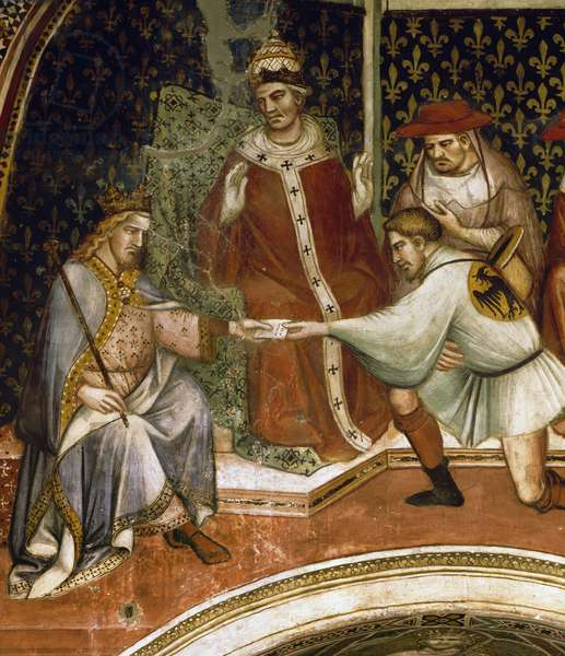 Barbarossa's message, scene from Stories of Alexander III, 1407-1408, by Spinello Aretino (ca 1350-1410), fresco, Priory Room, Public Palace, Siena, Tuscany, Italy, 15th century