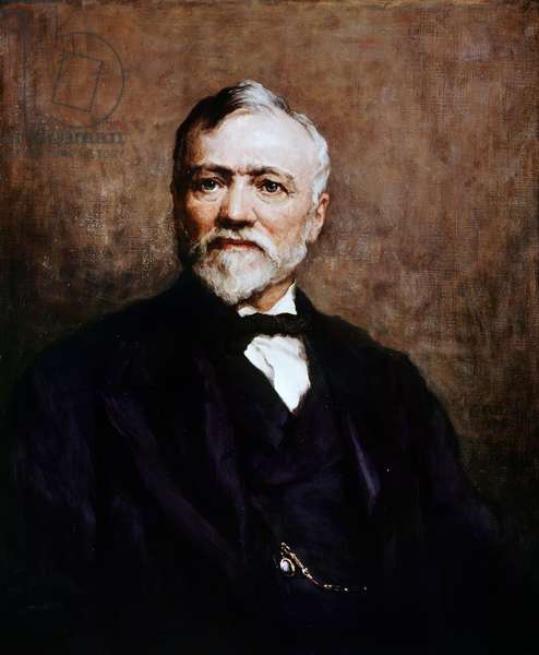 Portrait of Andrew Carnegie (1835-1919), British-born American entrepreneur and philanthropist, painting by Walter William Ouless (1848-1924)