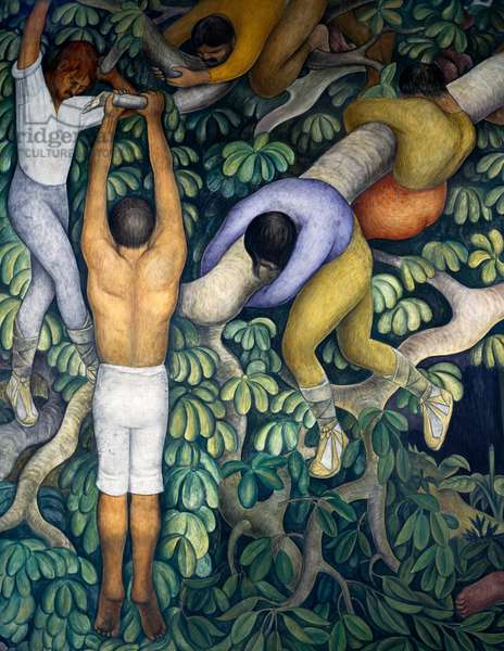 The Spanish cutting down a forest, detail from the History of Cuernavaca and Morelos frescoes, 1929-1930, by Diego Rivera (1886-1957), Palace of Cortes, Cuernavaca, Mexico. 20th century.