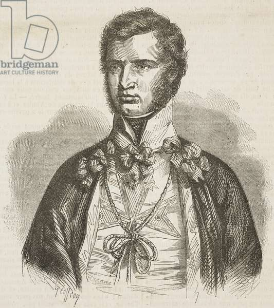 Portrait of Leopold II, Grand Duke of Tuscany (1797-1870), illustration by Geoffroy from L'Illustration, Journal Universel, No 223, June 5, 1847