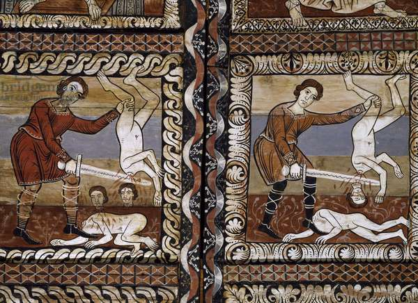 Massacre of Innocents, detail from pine and larch wood ceiling panels in St. Martin's Church, circa 1160, Zillis, Switzerland