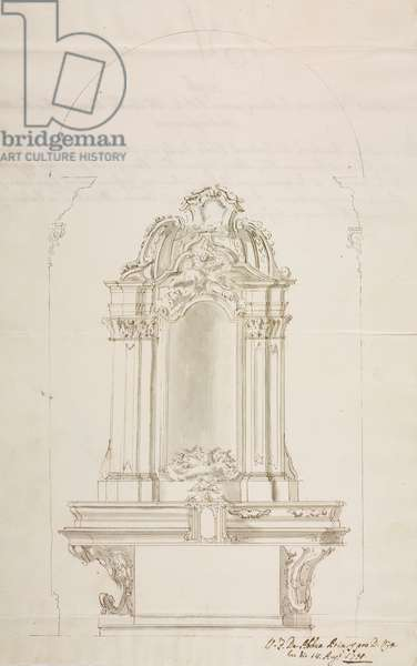 Design for chapel dedicated to Blessed Virgin Mary of Holy Rosary, in parish church of Pontirolo, parish of Treviglio, August 26, 1751, Cardinal Giuseppe Pozzobonelli, elevation drawing, Italy, 18th century