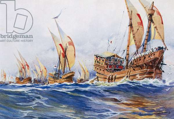 French ships of King Louis IX during eighth crusade in 1268, watercolour by Albert Sebille (1874-1953)