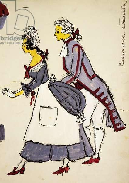 Costume sketch by D'Andrea for the servants in La Baronessa Stramba (The Odd Baroness), 1776, opera by Domenico Cimarosa (1749-1801)