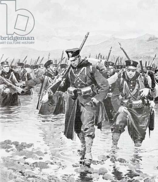 Japanese contingent crossing Yalu River, May 1, 1904, illustration from L'Illustrazione Italiana, Russo-Japanese War, North Korea, 20th century