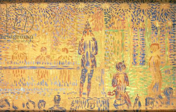 Musicians, stage managers and spectators, 1888, by Georges Seurat (1859-1891)