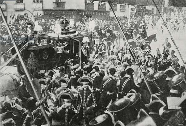 Alfonso XIII (1886-1941) arriving to Cortes in gala sedan during celebration for his coronation, Madrid, Spain, photo by Chusseau-Flaviens, from L'illustrazione Italiana, Year XXIX, No 22, June 1, 1902