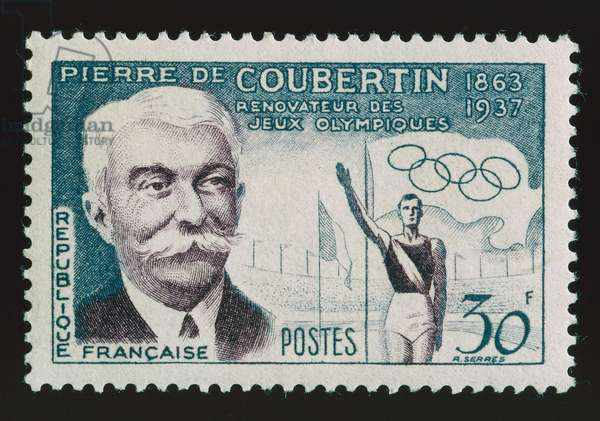 Postage stamp honoring Pierre de Coubertin (1863-1937), Promoter of modern Olympics, 1956, France, 20th century