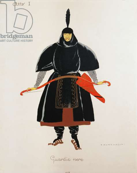 Costume for the black guards from Turandot by Giacomo Puccini, sketch by Umberto Brunelleschi (1879-1949) for the first performance of the opera at the Teatro alla Scala in Milan, April 25, 1926. 20th century