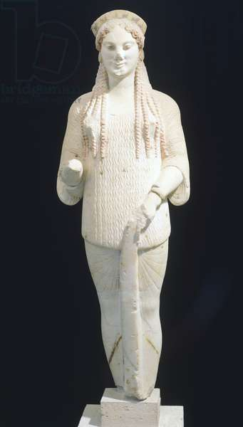 Kore 670, ca 510-520 BC, sculpture of the archaic age from the Acropolis in Athens (Greece). Greek Civilization, 6th Century BC.