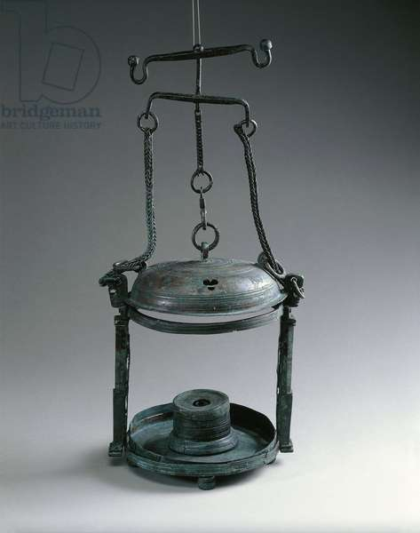Bronze lantern with three footed circular flat base, from Pompei