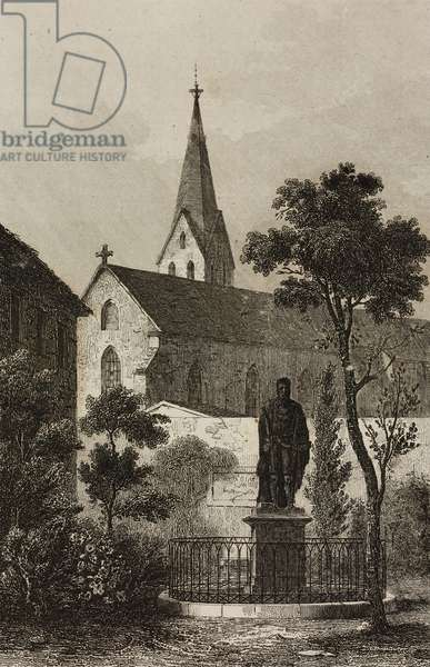 Monument to Johannes Gutenberg (1394/1399-1468) in Mainz, Germany, engraving by Lemaitre from Allemagne by Philippe Le Bas (1794-1860)