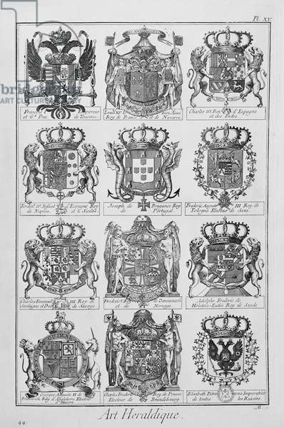 Table illustrating coats of arms of European monarchs: engraving from L'Encyclopedie, 1751-1757, Denis Diderot, Jean Baptiste Le Rond and d'Alembert, France, 18th century