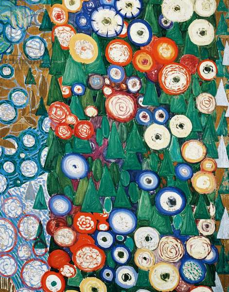 The classic spring, by Galileo Chini (1873-1956), tempera, oil, stucco and gold on canvas, 390x330 cm. Panels made for Mestrovic Hall at the Venice Biennale. Italy, 20th century. Detail of the background.
