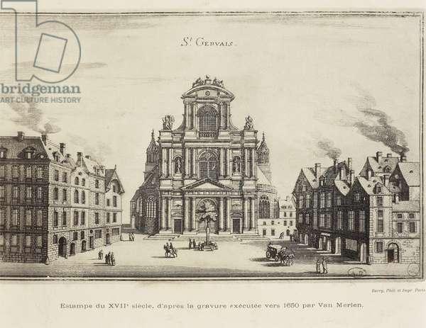 France, Paris, Church of Saint-Gervais, Facade