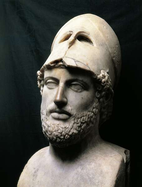 Bust of Greek general and politician Pericles, Roman copy in marble of Greek original from the Acropolis in Athens (Greece), Greek Civilization, 5th Century BC