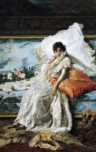 Marguerite Gautier, character from novel, Lady of Camellias by Alexandre Dumas (1824-1895), circa 1890, by Eugene Scomparini (1845-1913), oil on canvas, 246x160 cm