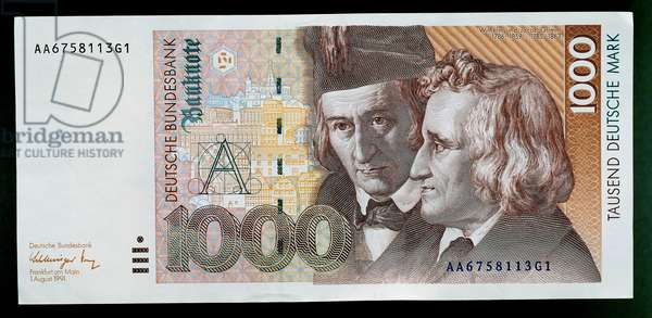 1000 mark banknote, 1991, obverse, Wilhelm (1786-1859) and Jacob Grimm (1785-1863), Germany, 20th century