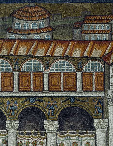 Basilica of Sant'Apollinare Nuovo, Detail of mosaics representing palace of Theodoric, Ravenna, Emilia-Romagna, Italy