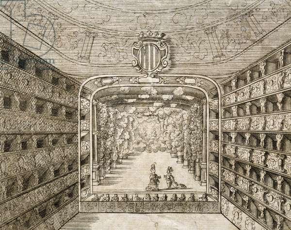 The interior of the Grimani Theatre at San Giovanni Crisostomo in Venice, 1709, Venice, detail, engraving, Italy, 18th century