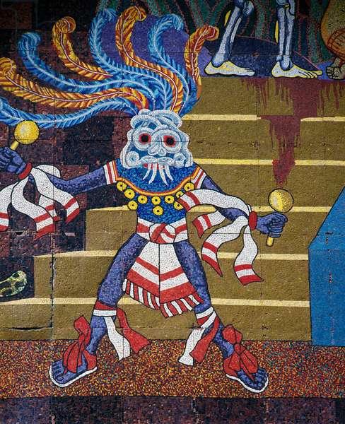 Aztec dancer, by Diego Rivera (1886-1957), detail from the mosaic mural on the facade of the Theatre of the Insurgents, Mexico City. Mexico, 20th century.