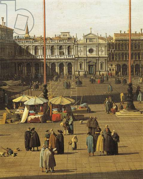 Piazza San Marco, Venice, circa 1735, by Giovanni Antonio Canal, known as Canaletto (1697-1768), Oil on canvas, 68.5x93.5 cm, Detail