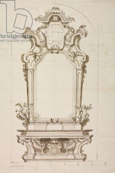Design for altar dedicated to Blessed Virgin Mary in collegiate church of Mariano, parish of Mariano, July 5, 1759, Cardinal Giuseppe Pozzobonelli, elevation drawing, Italy, 18th century